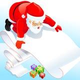 Il Babbo Natale con la sua lista di obiettivi Fotografia Stock Libera da Diritti