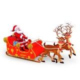 Il Babbo Natale è con la suoi slitta e regali Fotografia Stock Libera da Diritti