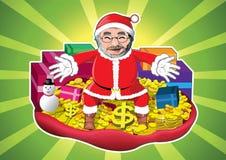 Il Babbo Natale con soldi, oro ed i regali Immagine Stock Libera da Diritti