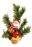 Il Babbo Natale con un contenitore, una mela & un evergreen di regalo immagini stock libere da diritti