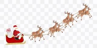 Il Babbo Natale con un vettore di volo della renna illustrazione di stock