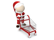 Il Babbo Natale e carrello di acquisto Immagine Stock Libera da Diritti