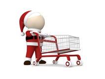 Il Babbo Natale e carrello di acquisto Immagine Stock