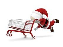 Il Babbo Natale e carrello di acquisto Fotografia Stock