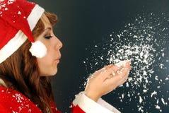 Il Babbo Natale e la neve Immagini Stock Libere da Diritti