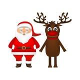 Il Babbo Natale e renna Immagine Stock Libera da Diritti