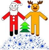 Il Babbo Natale e renna divertenti illustrazione vettoriale