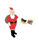 Il Babbo Natale e renne Fotografia Stock Libera da Diritti