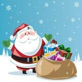 Il Babbo Natale e sackful dei giocattoli Immagine Stock