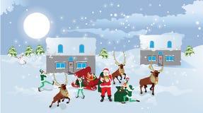 Il Babbo Natale e slitta con i presente.   Fotografia Stock Libera da Diritti