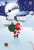 Il Babbo Natale e slitta con i presente Fotografia Stock
