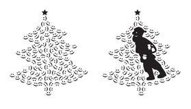 Il Babbo Natale ed albero sorridente Fotografia Stock