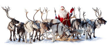 Il Babbo Natale ed i suoi cervi Immagini Stock Libere da Diritti