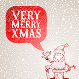 Il Babbo Natale ed il bullfinch se lo congratula con la C Fotografie Stock