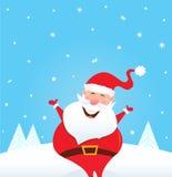 Il Babbo Natale felice con neve e gli alberi di caduta Immagini Stock