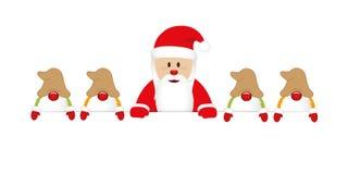 Il Babbo Natale felice sveglio con la sua insegna bianca di gnomi illustrazione di stock