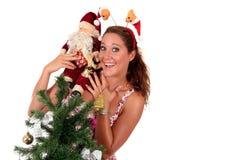 Il Babbo Natale, giovane donna felice Fotografia Stock Libera da Diritti