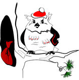Il Babbo Natale - gufo illustrazione di stock
