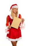 Il Babbo Natale a natale con la lettera di richiesta. Fotografia Stock Libera da Diritti
