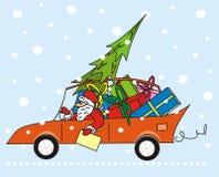 Il Babbo Natale nell'automobile Fotografie Stock Libere da Diritti