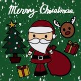 Il Babbo Natale porta una condizione della borsa del regalo con l'albero di Natale e la stella gialla sulla cima, con il contenit royalty illustrazione gratis