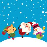 Il Babbo Natale, pupazzo di neve ed elfo felici Fotografia Stock Libera da Diritti