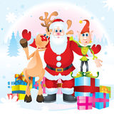 Il Babbo Natale, Rudolph ed elfo Immagine Stock Libera da Diritti