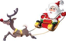 Il Babbo Natale in slitta con Rudolph Immagine Stock