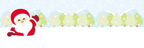 Il Babbo Natale su neve con natale del fiocco di neve immagine stock libera da diritti