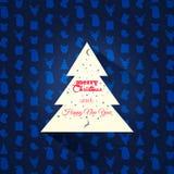 Il Babbo Natale su una slitta Albero di Natale su un fondo del modello immagine stock libera da diritti