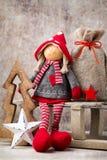 Il Babbo Natale su una slitta Fondo di gnomo di Noel Simbolo di Natale Immagini Stock