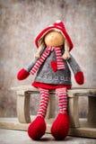 Il Babbo Natale su una slitta Fondo di gnomo di Noel Simbolo di Natale Immagine Stock Libera da Diritti