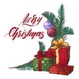 Il Babbo Natale su una slitta I contenitori di regalo decorati del brunch dell'abete ed il Buon Natale scritto a mano firmano Acc Fotografia Stock