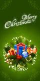 Il Babbo Natale su una slitta Iscrizione di Buon Natale Fotografia Stock Libera da Diritti