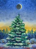 Il Babbo Natale su una slitta Pittura a olio e tecnologia digitale Albero di Natale coperto di neve sui precedenti della foresta  royalty illustrazione gratis