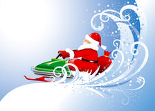 Il Babbo Natale su uno snowmobile. Vettore editable. Fotografia Stock