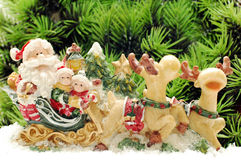 Il Babbo Natale sui cervi Fotografie Stock