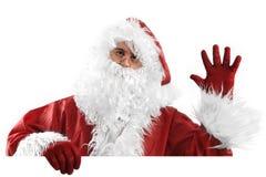 Il Babbo Natale sul arrivederci bianco Fotografia Stock Libera da Diritti