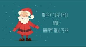Il Babbo Natale sveglio Illustrazione di Natale di vettore Carattere luminoso del nuovo anno Fotografia Stock