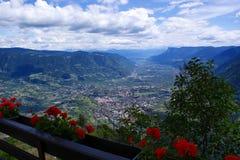 Il bacino della valle di Meran nel Tirolo del sud, Italia Immagini Stock Libere da Diritti