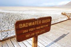Il bacino di Badwater firma dentro la sosta nazionale del Death Valley Immagine Stock