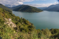 Il bacino idrico di Zhinvali, Georgia, Caucaso Immagine Stock