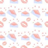 Il bacio del rossetto, la busta, modello senza cuciture del cuore per le merci del giorno di biglietti di S. Valentino progetta,  illustrazione di stock