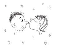 Il bacio di amore ed il cuore per il giorno o le nozze del ` s del biglietto di S. Valentino Fotografia Stock