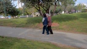 Il badante femminile aiuta una donna senior a camminare nel parco della città archivi video
