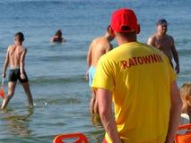 Il bagnino sulla spiaggia in Miedzyzdroje Fotografia Stock