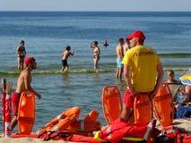 Il bagnino sulla spiaggia in Miedzyzdroje Immagini Stock