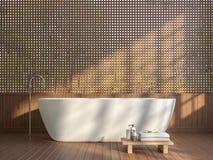 Il bagno contemporaneo moderno con la parete di legno 3d della grata rende illustrazione vettoriale