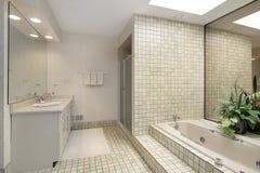 Il bagno matrice con ascende la vasca delle mattonelle fotografia stock