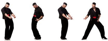 Il ballerino spagnolo in varie pose su bianco Immagini Stock